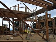 Floor Joists Started, Center Beam up, February 3, 2010