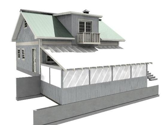 Preliminary Cad Rendering of Workshop and Greenhouse
