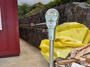 Old Working Rockwell Parking Meter Installed in Front of Barn, June 2, 2010