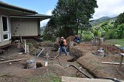 Pumping Concrete into Hut Footings, Aug. 16, 2011