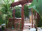 Rear Left Arbor with Passion Flower Vines
