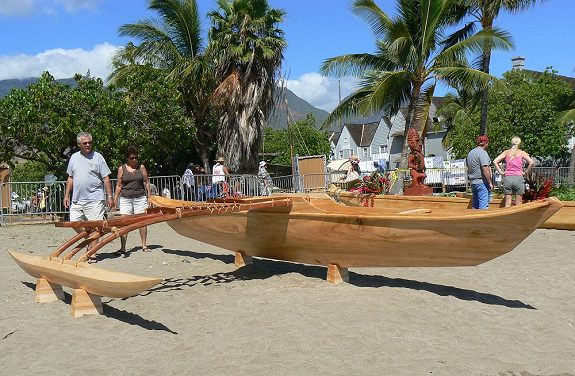 Newly Completed Outrigger Canoe During the 2007 International Festival of Canoes at Kamehameha Iki Park in Lahaina