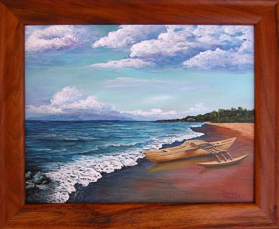 Original Acrylic Painting of this actual Canoe by Darice Machel in a Koa Frame