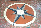 Compass Rose at 4-Way Junction in Brick Paths